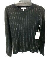Frame Womens Black Metallic Striped Long Sleeve Fine Knit Sweater Top Sz XS NWT