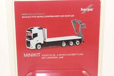 Herpa 013154 minikit: volvo FH GL. 4-alineación escáner plano-camión con ladekran blanco 1:87