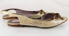 ANYA HINDMARCH~SILVER LEATHER SLING BACK SANDALS/SHOES~WOMENS SIZE 7.5~EURO 38