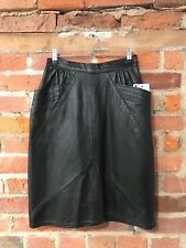 "TRUE VINTAGE LEATHER SKIRT SIZE 6 8 W25"" BLACK PENCIL POCKETS by VERA PELLE (ls2"