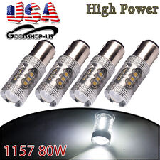 4x Pure White 1157 High Power 80W LED Turn Signal Backup Reverse Light Bulb
