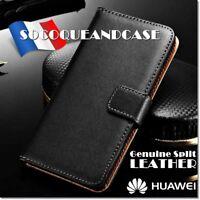 Housse coque Genuine Split Leather case HUAWEI Honor Mate 10 Pro P8 Lite 2017