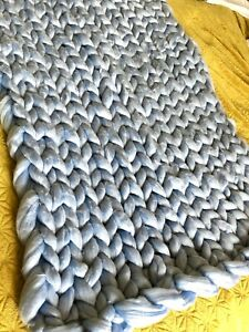 Hand Arm Knitted Giant Chunky Thick Knit Wool Throw Blanket Pale Sky Baby Blue