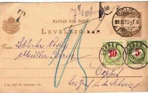 Hungary Card SWITZERLAND UNDERPAID Postage Dues Coppet Budapest 1893 SP20
