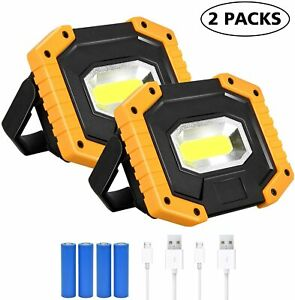 2PACK 30W Rechargeable Work Light Floodlight Spotlight with USB Battery Portable