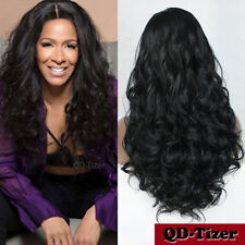 Long Deep Wavy Hair Heat Resistant Synthetic Lace Front Wigs Baby Hair Black