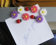 Daisy & ladybird fridge,memo,decor strong magnets.Set of 9. A little gift idea !
