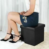Faux Leather Ottoman Pouffe Large Storage Box Foot Stools 1 Seater Bench Seat UK