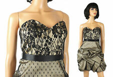 Strapless Prom Gown Sz 2 XS Black Lace Illusion Beige Satin Short Mini Dress