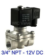"""3/4"""" Inch Stainless Electric Air Gas Water Solenoid Valve NC 12V DC Viton Seal"""
