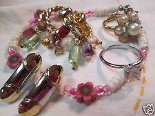 Vintage Avon Pearl Bead Rings Heishe Bracelet Pierced Earrings Jewelry Lot 5Pcs.