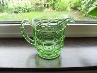 SOWERBY ART DECO URANIUM GREEN GLASS OXFORD WATER JUG