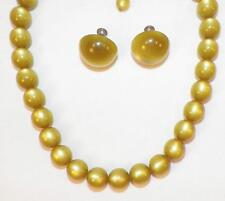 Vintage Moonglow Choker Necklace & Button Earrings Light Olive Green 1950s Retro