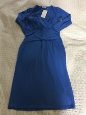 Very Flattering BNWT £89 Cross Over Chest  Fitted Dress In Blue-size 10R.