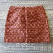 J.CREW Skirt Size 00 Womens Retro Mod Mini Orange Pink Geometric Career Casual