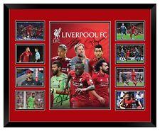 LIVERPOOL FC 2018/19 SALAH MANE FIRMINO KLOPP SIGNED PHOTO FRAMED LE MEMORABILIA