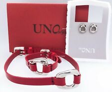New Uno De 50 Silver Red leather buckle Bracelet + Earring + Necklace Gift Set