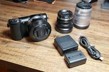 Sony Alpha a5000 20.1 MP Digital SLR Camera - Black with 3 lens & Charger & Batt