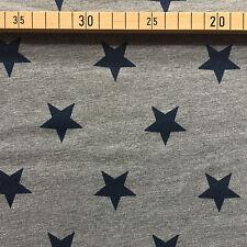 Sommersweat grau mit blauen Sternen French Terry