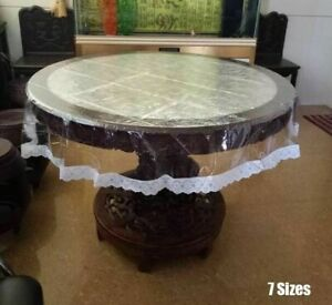 Table Cover with Lace Soft Round Transparent PVC Plastic Waterproof Party Hotel