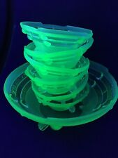 Art Deco Davidson Frosted Uranium Green Glass Footed Fruit Bowl 6 Smaller Dishes