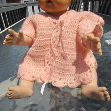 """Doll Baby Clothing Satin Tie Knit Sweater Fits Dy-Dee Tiny Tears 18""""-20"""" 1950s"""
