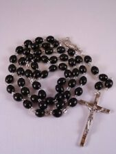 Wood Rosary ~ Black ~ Oval Beads
