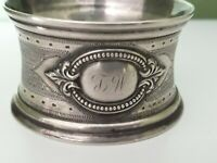 Antique NAPKIN RING Sterling Silver Guilloche French Monogram J W Amitie1890 25g