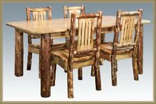 Amish Log Dining Room Set 6 ft Kitchen Table and 4 Chairs Stained Varnished