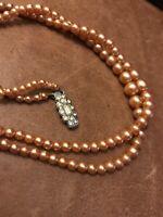 True Vintage 1950S 1960S Rare Caramel Faux Pearl Necklace Decorative Clasp