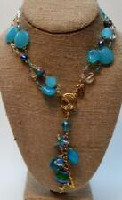 "Stamped Ot Cloisonne Rose Blue Beads 32"" Necklace Seashell Dangle Pendant"