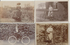 Good lot of 9 x postcards with men & women with bicycles