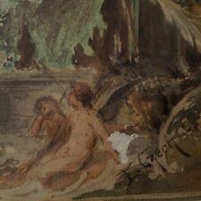 Emil Czech (1862-1929) Wien Art Nouveau Aquarell Guache Painting Nude Music Muse