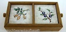 Porzellan Untersetzer in Holzkiste 8 Stk. verschiedene Motive