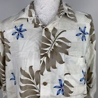 VTG Mens PURITAN Multi Floral Rayon Hawaiian Short Sleeve Shirt Size M Holiday