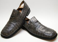 MENS PAOLO DE MARCO GENUINE ALLIGATOR GRAY SQUARE TOE LOAFER DRESS SHOES SZ 15 M
