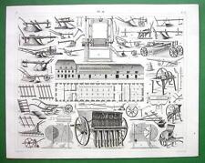 FARMING Technology Plows Harrows Rollers Farmhouse - SUPERB 1844 Antique Print