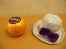 Hand Knitted Easter Bonnet Chocolate Orange cover   (blue)  (a)