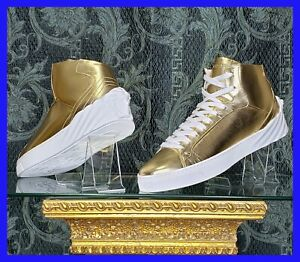 NEW VERSACE HIGH -TOP METALLIC LEATHER SNEAKERS WHITE MEDUSA SOLE  45- 12