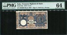 Italy 1918, 5  Lire, P23e, PMG 64 UNC