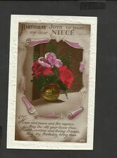 Vintage Greeting Postcard Birthday Joy's be yours my Dear Niece