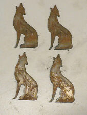 "Lot of 4 Howling Wolf Coyote Shapes 3"" Rusty Metal Vintage Stencil Ornament"