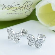 925 STERLING SILVER BUTTERFLY EARRINGS STUDS WITH ZIRCONIA - RHODIUM PLATED