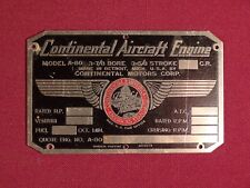 Vintage Original Continental Motors Aircraft / Airplane Engine Tag WWII ?
