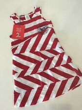 NEW Sz 4 Yr 104 DEUX PAR DEUX Red White Striped Nautical Sailor Ruffle Dress