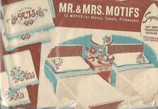 Superior Mr. & Mrs 12 Motifs Hot Iron Transfers #176 for Embroidery Vtg His Hers