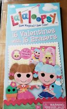 Lalaloopsy 16 Valentines With 16 Mini Erasers~For Ages 3+~New In Package