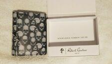 Robert Graham Mens tri-fold black wallet  - skull pattern