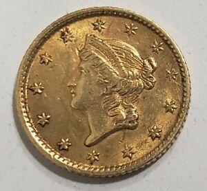 1854 $1 Liberty Head Gold Dollar Coin Type 1
