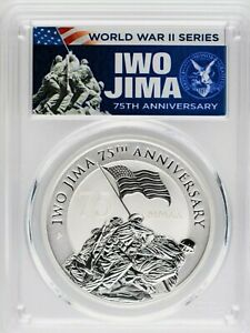 2020-P PCGS MS70 IWO JIMA 75TH ANNIVERSARY FIRST DAY OF ISSUE .9999% SILVER COIN